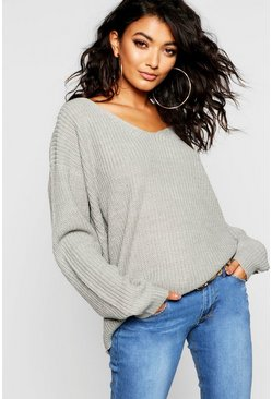 Womens Grey Lace Up Back Knitted Jumper