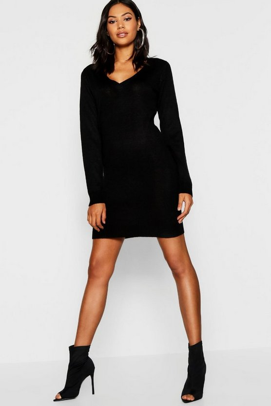 Womens Black V Neck Knitted Dress