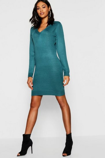 Womens Teal V Neck Knitted Dress