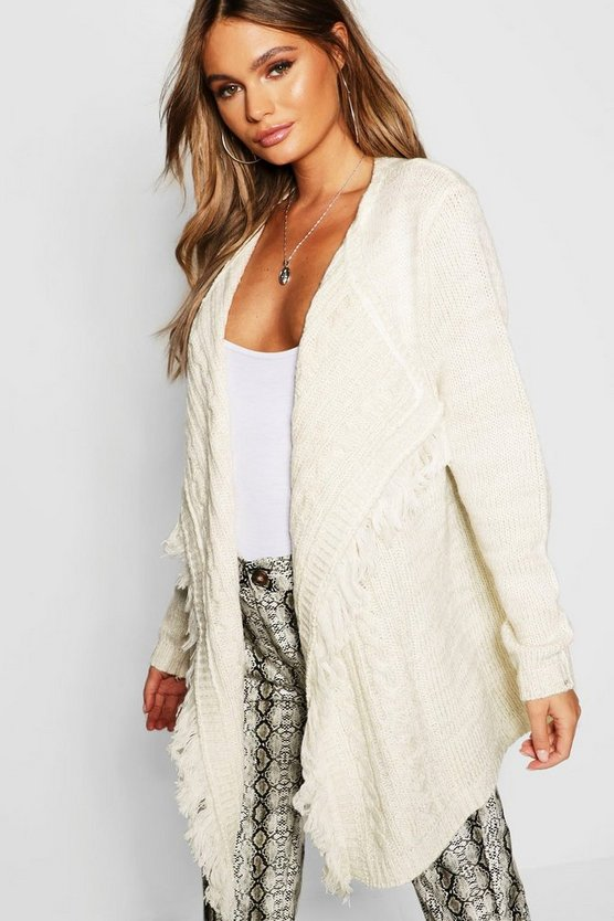 Womens Ecru Cable Knit Fringe Cardigan