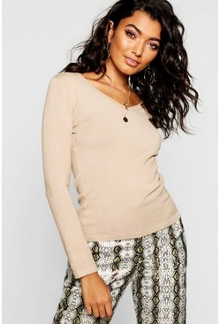 Womens Camel V Neck Knitted Top