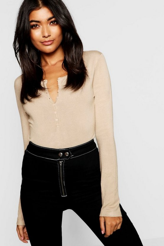Womens Camel Button Through Knitted Top