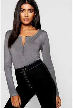 Womens Grey Button Through Knitted Top