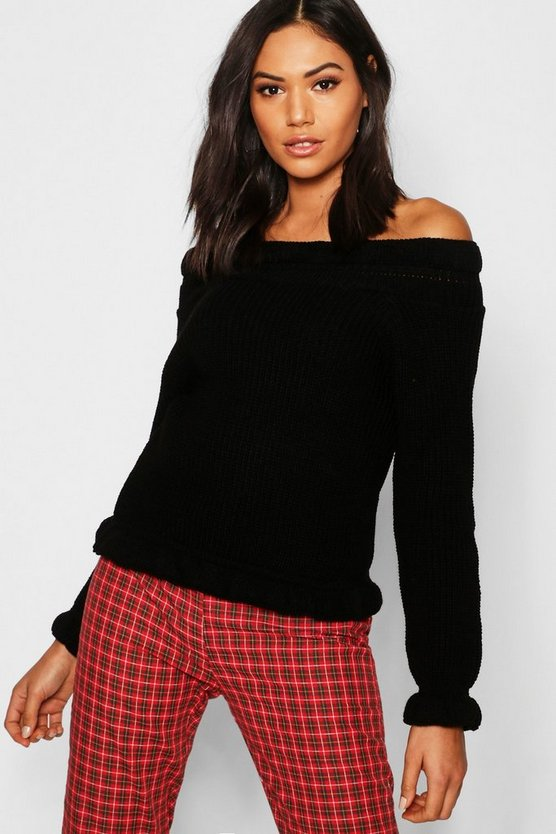 Womens Black Bardot Off Shoulder Knitted Jumper