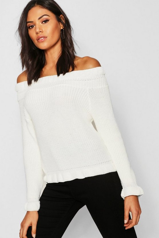Bardot Off Shoulder Knitted Jumper by Boohoo