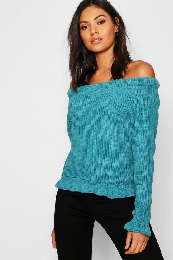Womens Teal Bardot Off Shoulder Knitted Sweater