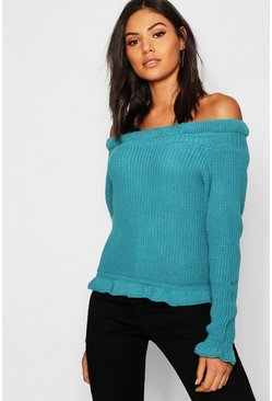 Womens Teal Bardot Off Shoulder Knitted Jumper