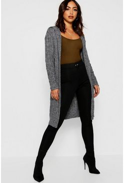 Womens Charcoal Cable Knit Hooded Midi Cardigan