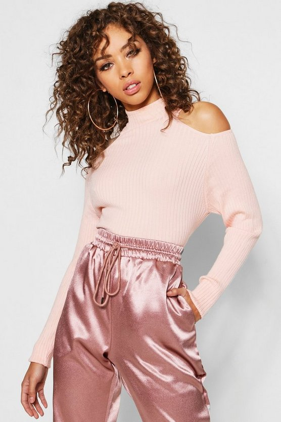 Rib Knit Cold Shoulder Jumper