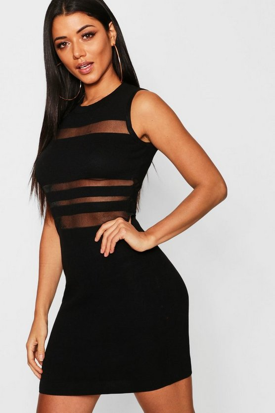 Knitted Bodycon With Mesh Panel Dress, Black, Женские