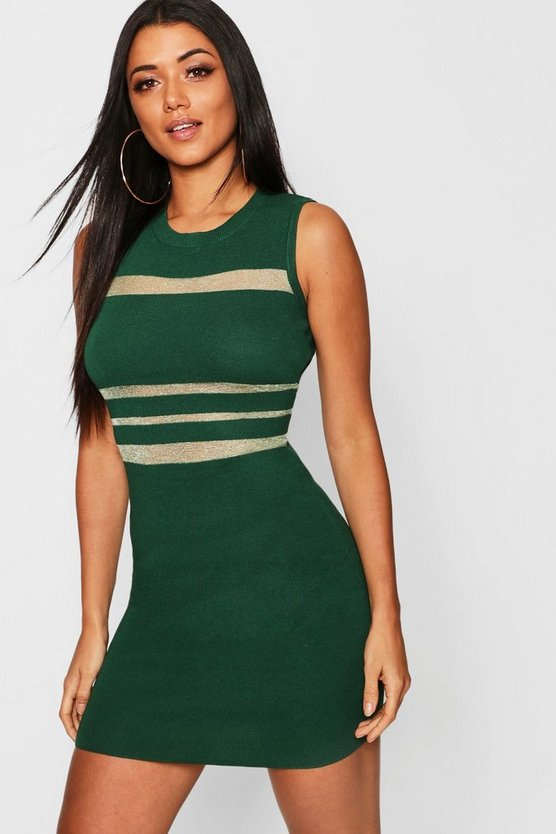 Knitted Bodycon With Mesh Panel Dress