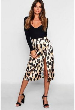 Womens Stone Leopard Satin Split Midi Skirt