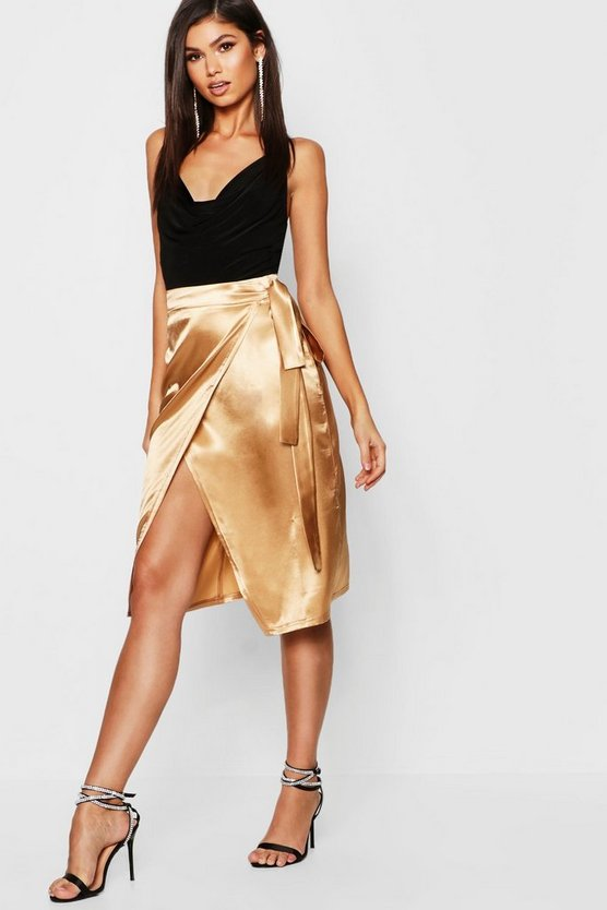 Womens Satin Wrap Midi Skirt