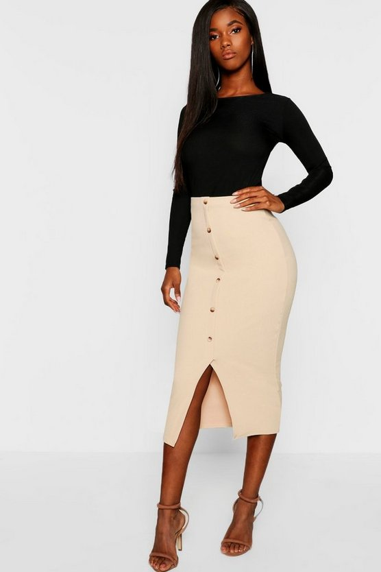 Horn Button Through Crepe Midaxi Skirt