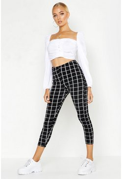 Womens Black Mono Grid Check Crepe Leggings