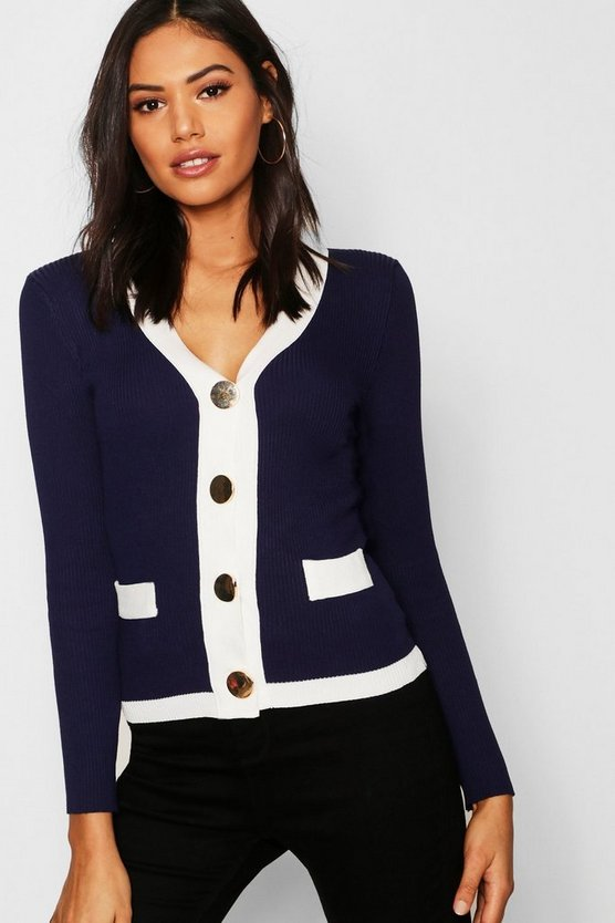 Contrast Panel Cardigan With Oversized Gold Buttons, Navy, Женские