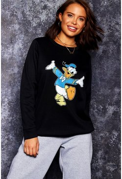 Womens Black Disney Donald Print Sweat