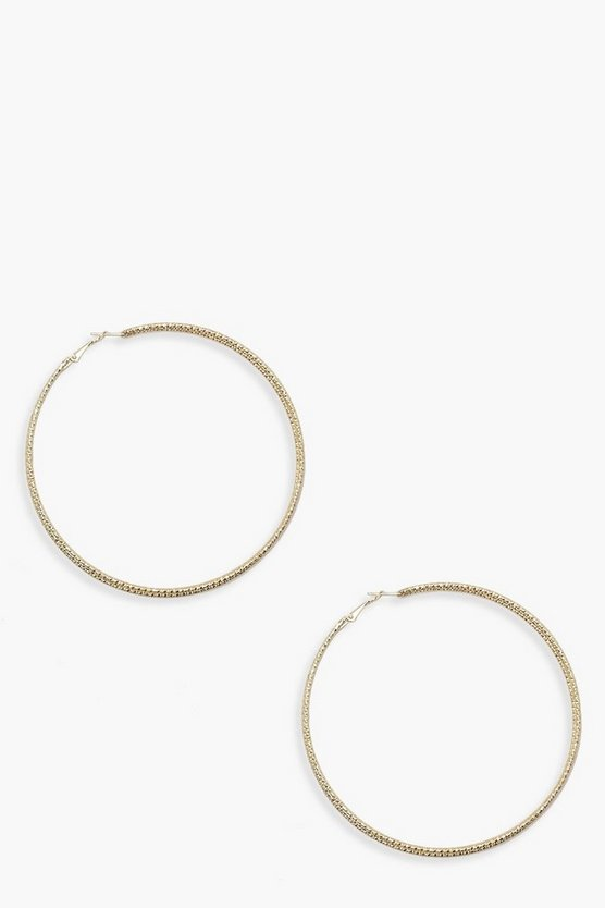 Womens Gold 10cm Triple Skinny Twist Hoop Earrings
