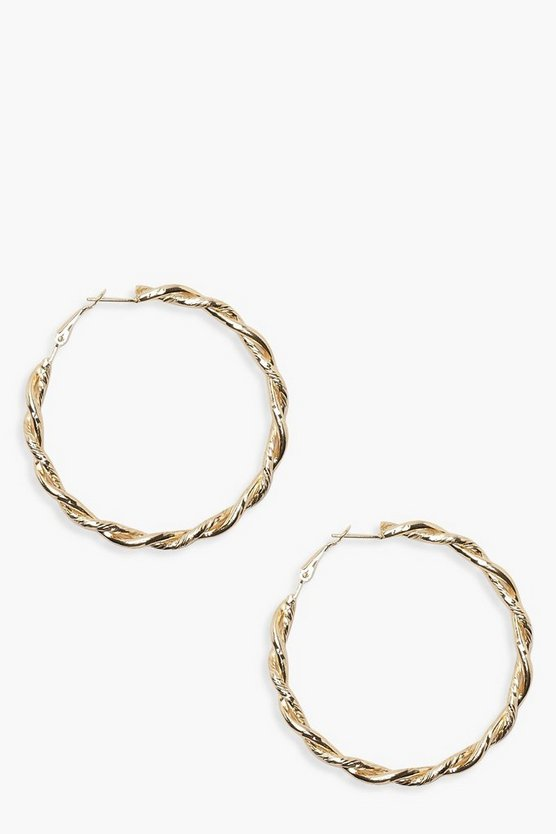 Womens Gold Vintage Look 6cm Twist Hoop Earrings