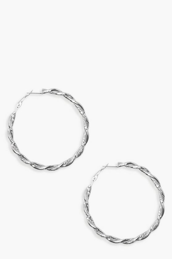 Vintage Look 6cm Twist Hoop Earrings