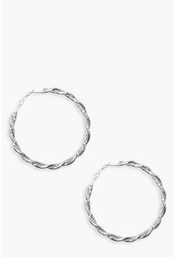 Womens Silver Vintage Look 6cm Twist Hoop Earrings