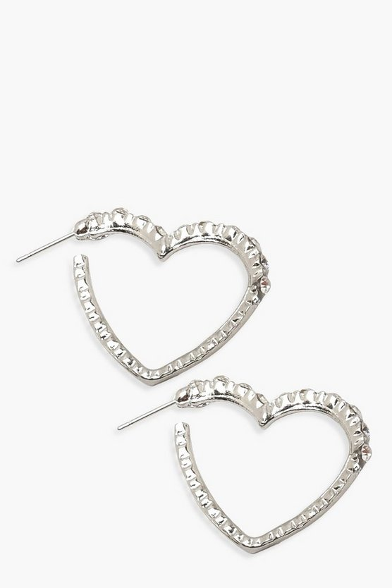 Diamante Heart Hoop Earrings