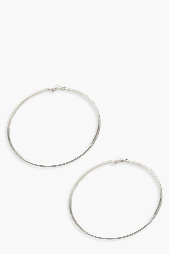Womens Silver 10.5cm Glitter Hoop Earrings