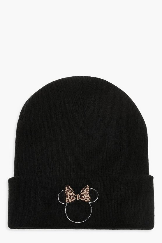 Womens Black Disney Minnie Leopard Bow Beanie