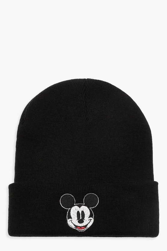 Womens Black Disney Mickey Beanie