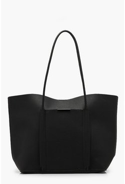 Womens Black Piping Pocket Tote Bag