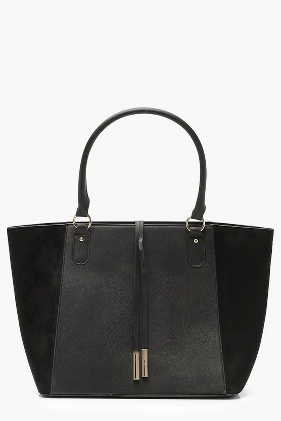 Womens Black Suedette Wings Structured Tote