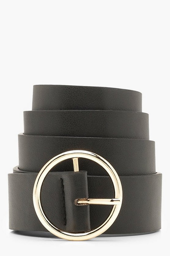 Womens Black Circle Ring Boyfriend Belt