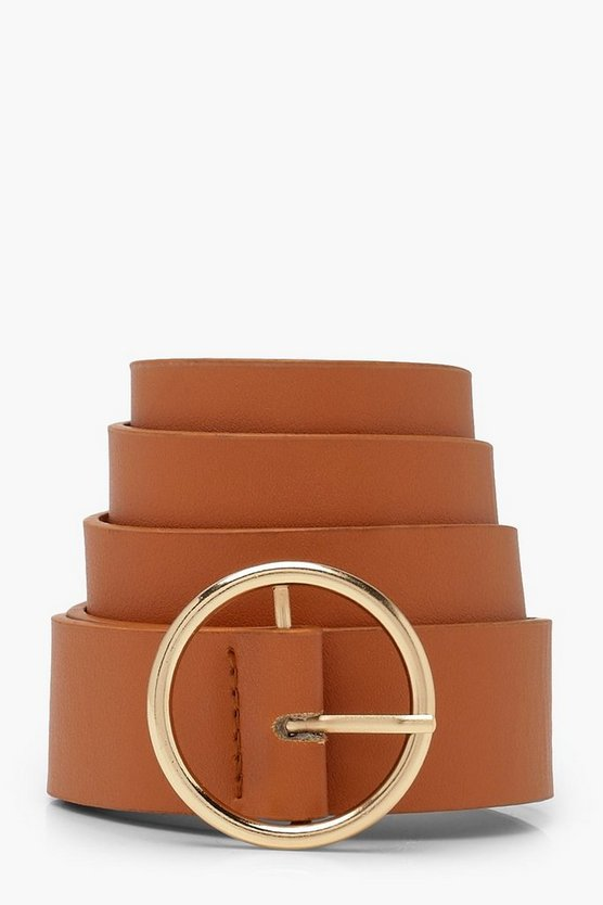 Womens Tan Circle Ring Boyfriend Belt