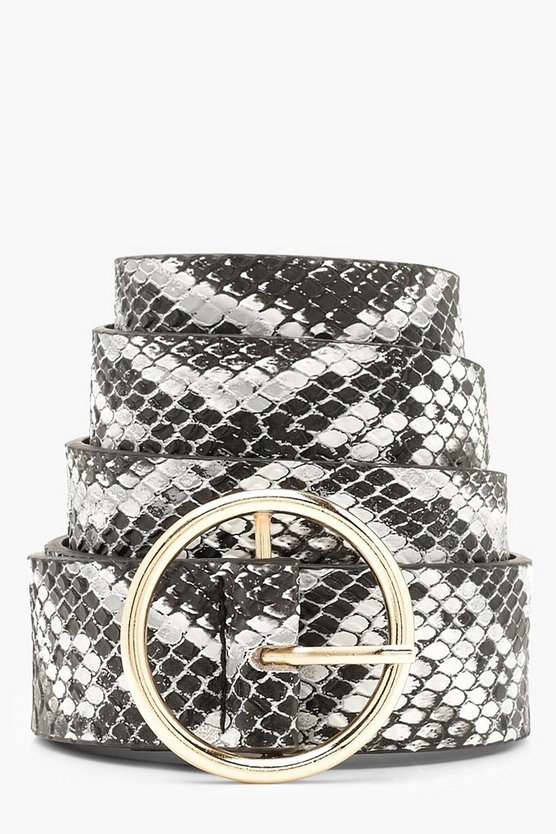 Womens Grey Faux Snake Circle Ring Belt