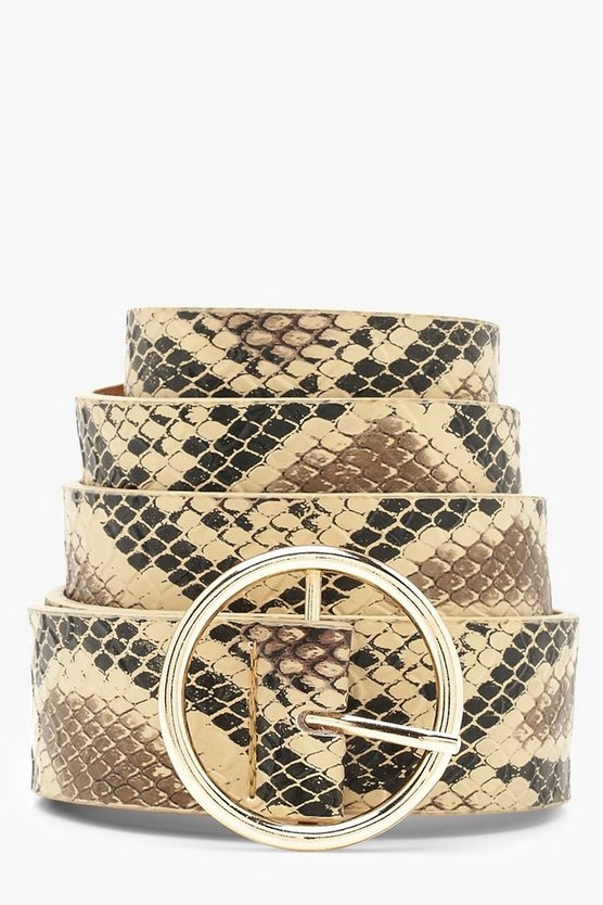 Faux Snake Circle Ring Belt