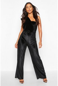 Drapiertes One-Shoulder-Jumpsuit aus Samt, Schwarz, Damen