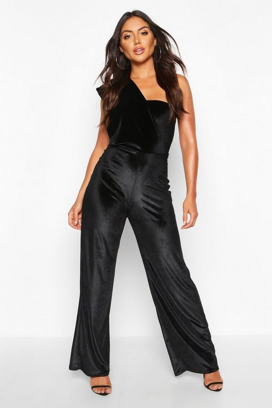 Velvet Drape One Shoulder Jumpsuit