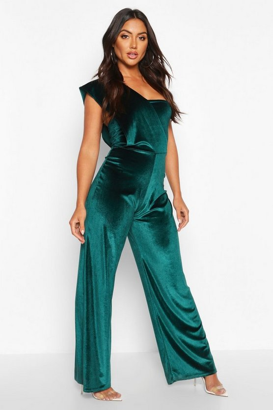 Emerald Velvet Drape One Shoulder Jumpsuit
