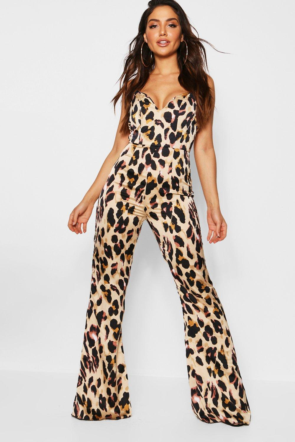 631a807b3e09 Satin Leopard Bustier Jumpsuit. Hover to zoom