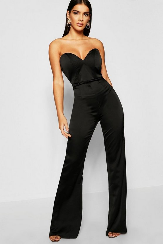 Womens Black Satin Bustier Jumpsuit