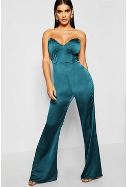 Womens Teal Satin Bustier Jumpsuit