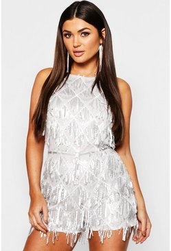 Womens Silver Tassel Sequin Halterneck Playsuit