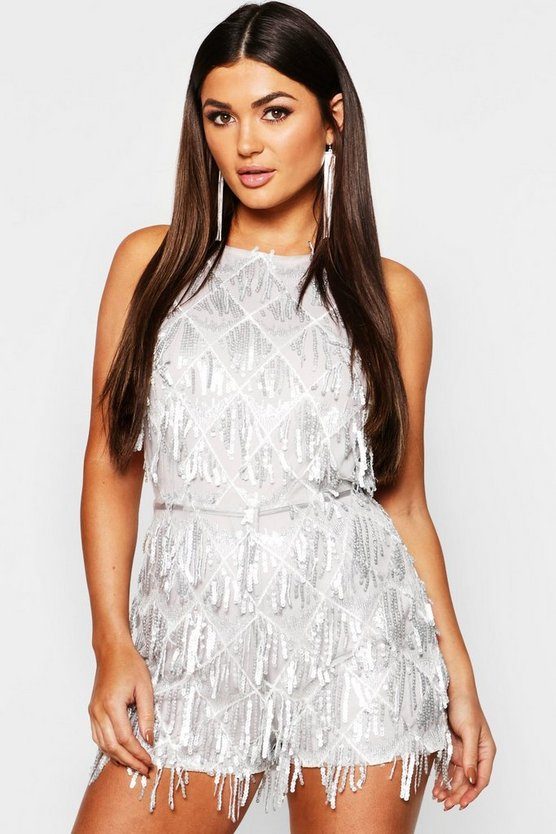Tassel Sequin Halterneck Playsuit