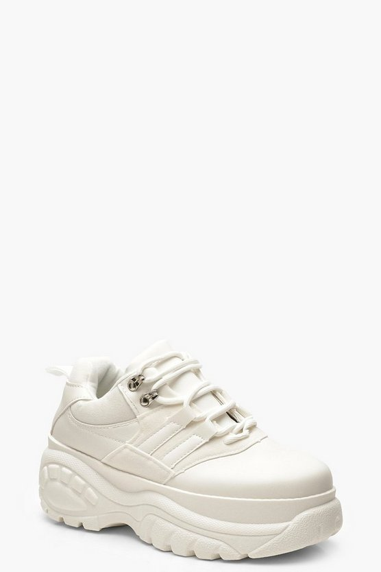 Womens White Chunky Platform Hiker Trainers