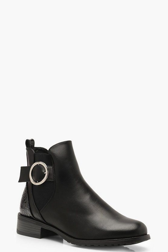 Womens Black Chelsea Boots With Croc Panel