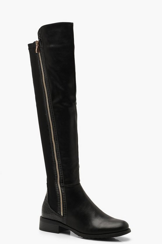 Womens Black Croc Trim Over The Knee Boots