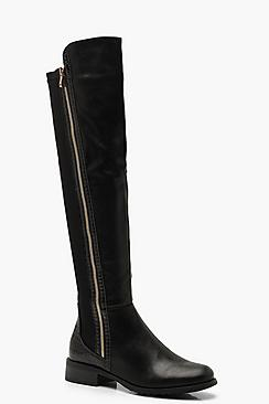 Croc Trim Over The Knee Boots