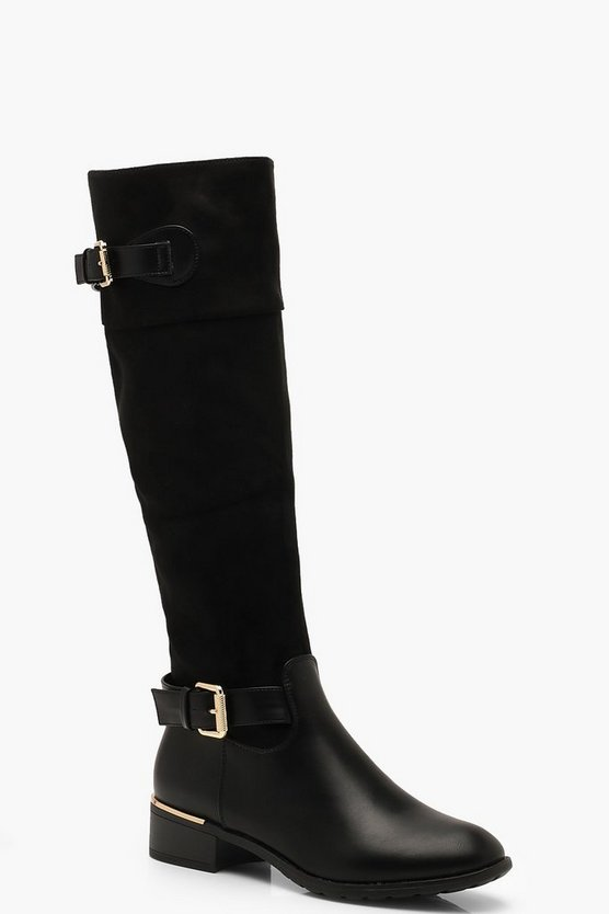 Womens Black Buckle Trim Rider Boots