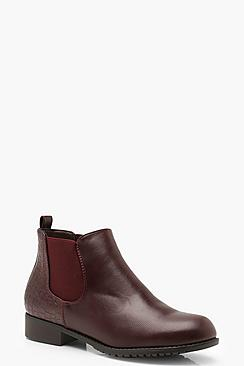 Croc Panel Pull On Chelsea Boots