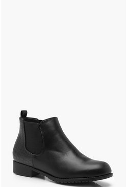 Womens Black Croc Panel Pull On Chelsea Boots